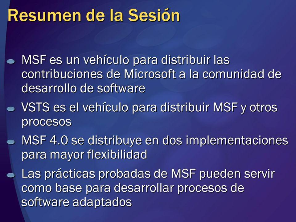 Resumen de la Sesión MSF es un vehículo para distribuir las contribuciones de Microsoft a la comunidad de desarrollo de software VSTS es el vehículo p