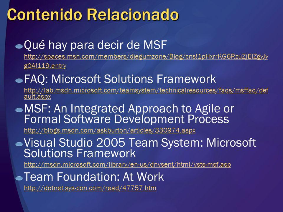 Contenido Relacionado Qué hay para decir de MSF http://spaces.msn.com/members/diegumzone/Blog/cns!1pHxrrKG6RzuZjEIZgyJy g0A!119.entry FAQ: Microsoft S