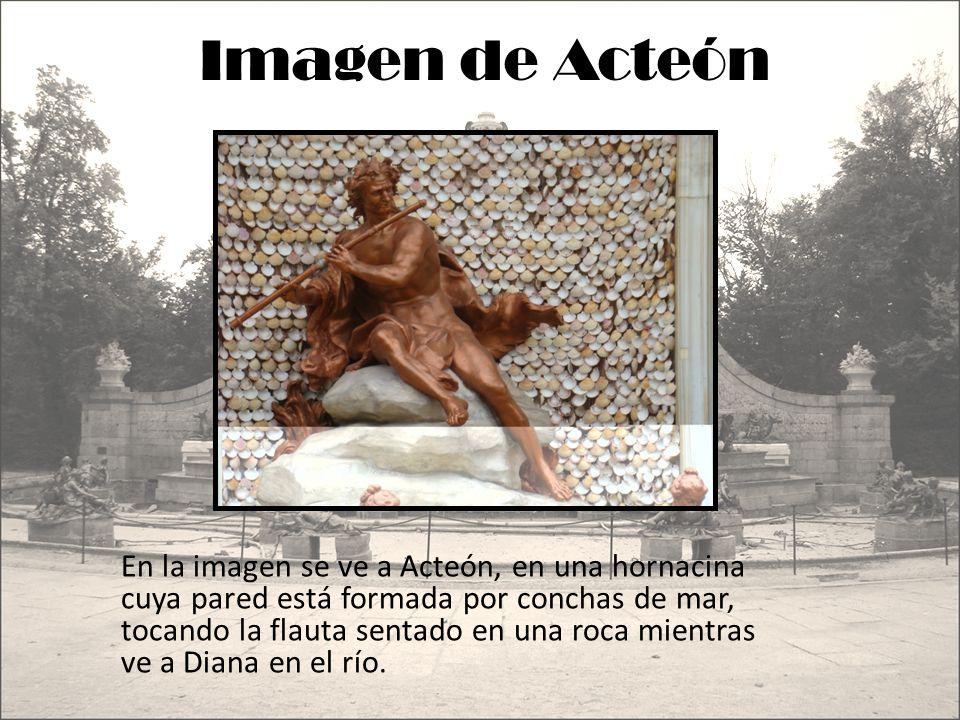 Imagen de Acteón En la imagen se ve a Acteón, en una hornacina cuya pared está formada por conchas de mar, tocando la flauta sentado en una roca mient