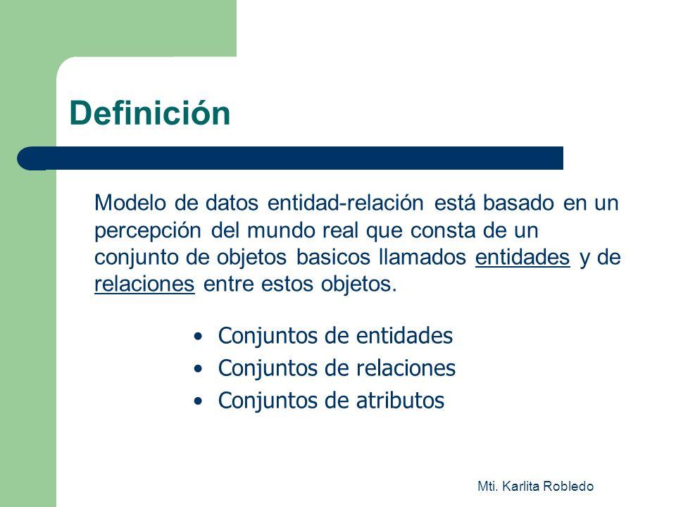 Mti. Karlita Robledo Definición Modelo de datos entidad-relación está basado en un percepción del mundo real que consta de un conjunto de objetos basi