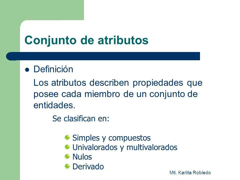 Mti. Karlita Robledo Conjunto de atributos Definición Los atributos describen propiedades que posee cada miembro de un conjunto de entidades. Se clasi