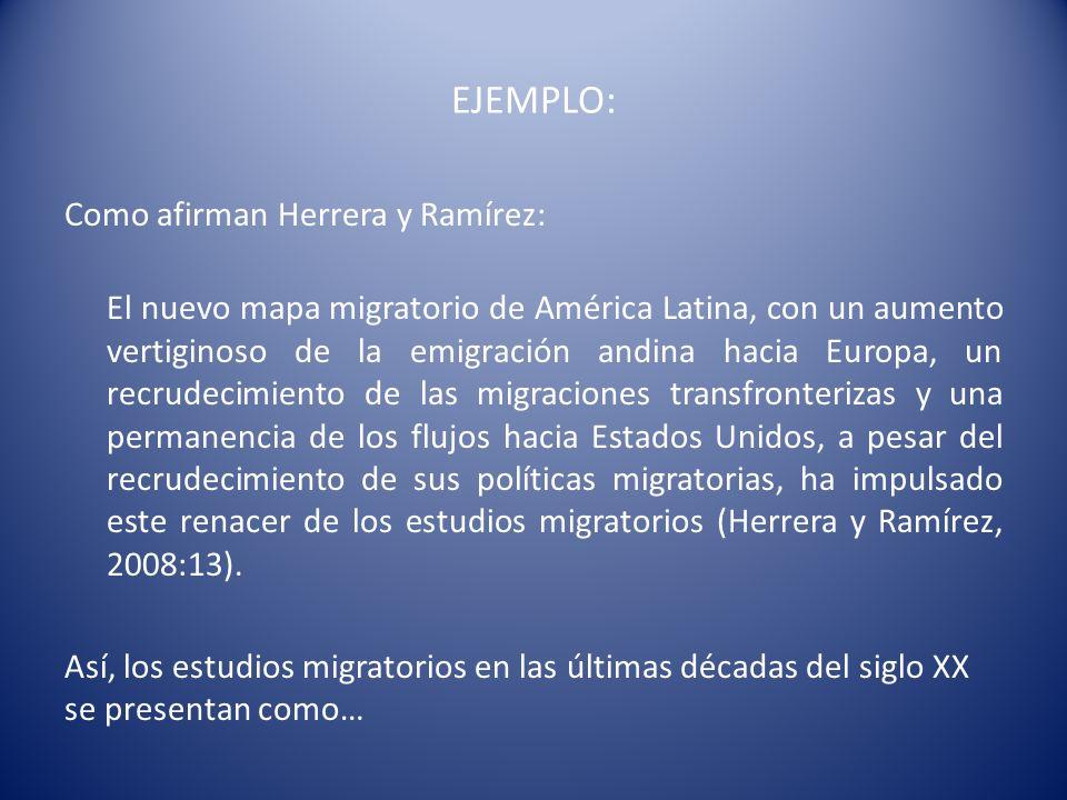 EJEMPLO: Como afirman Herrera y Ramírez: El nuevo mapa migratorio de América Latina, con un aumento vertiginoso de la emigración andina hacia Europa,
