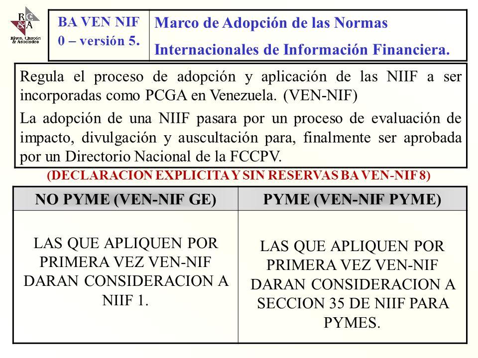 BA VEN-NIF Nº 0 Acuerdo Marco para la Adopción de las NIIF Cambios en el entorno Globalización Desarrollo del mercado de capitales Complejidad de las