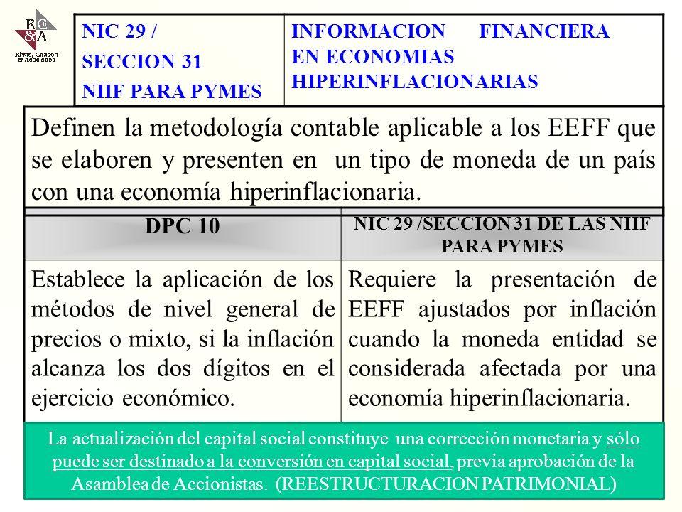 Con fundamento en la NIC 8 y la Sección 10 de las NIIF para PYMES, se establece como apropiado la aplicación de la NIC 29 y Sección 31 de las NIIF par