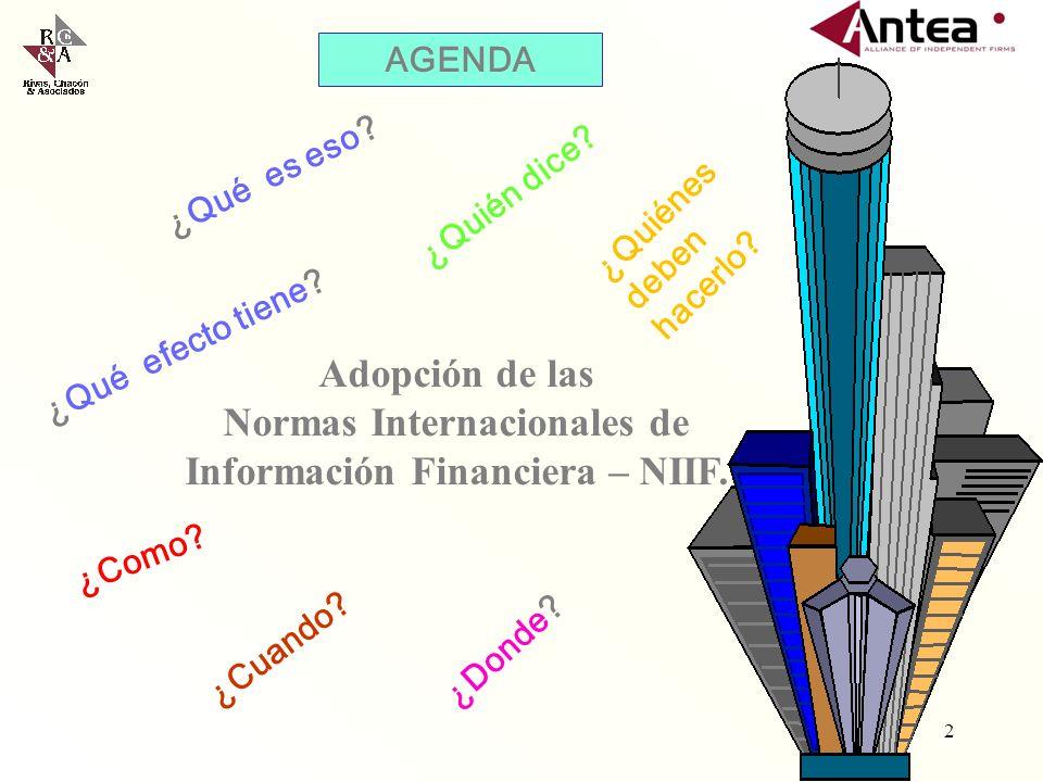 Adopción de las Normas Internacionales de Información Financiera – NIIF.