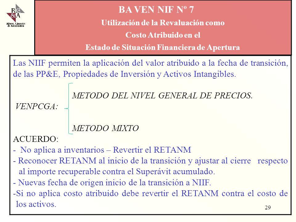 BA VEN NIF Nº 6 Criterios para la aplicación en Venezuela de la NIIF para las PYMES 28 PYME DPC - PT Desea calificarse como G.E? SI BA VEN NIF NIIF CO