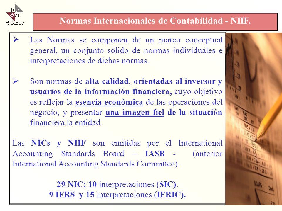 Las NIIF, son las Normas e Interpretaciones adoptadas por el Consejo de Normas Internacionales de Contabilidad (CNIC - IASB). Esas Normas comprenden: