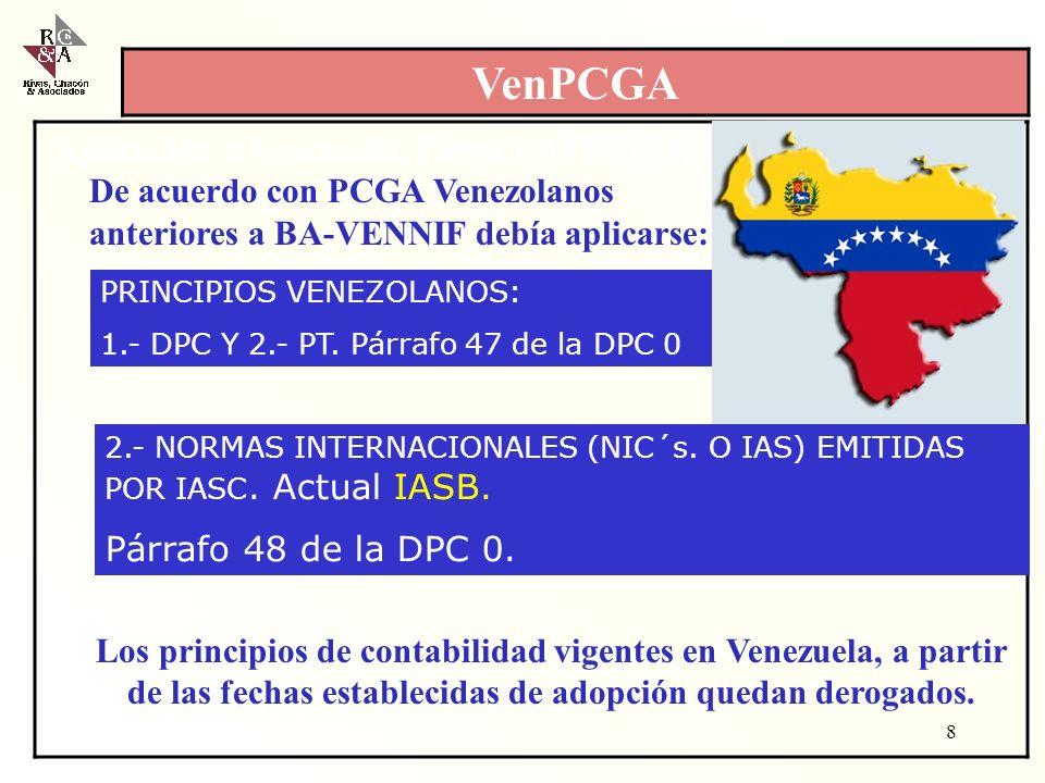 Aplicación n Venezuela, Párrafo 48 DPC 0, 1997toria de en Ve De acuerdo con PCGA Venezolanos anteriores a BA-VENNIF debía aplicarse: Los principios de contabilidad vigentes en Venezuela, a partir de las fechas establecidas de adopción quedan derogados.