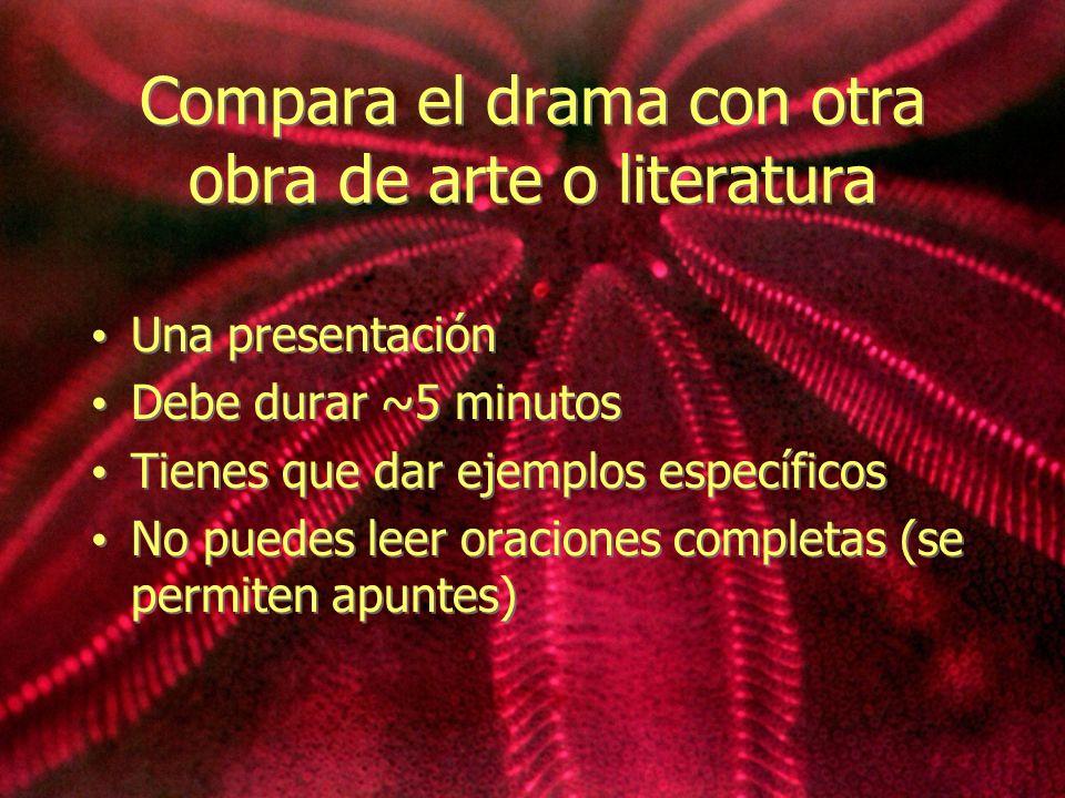 Compara el drama con otra obra de arte o literatura Una presentación Debe durar ~5 minutos Tienes que dar ejemplos específicos No puedes leer oracione