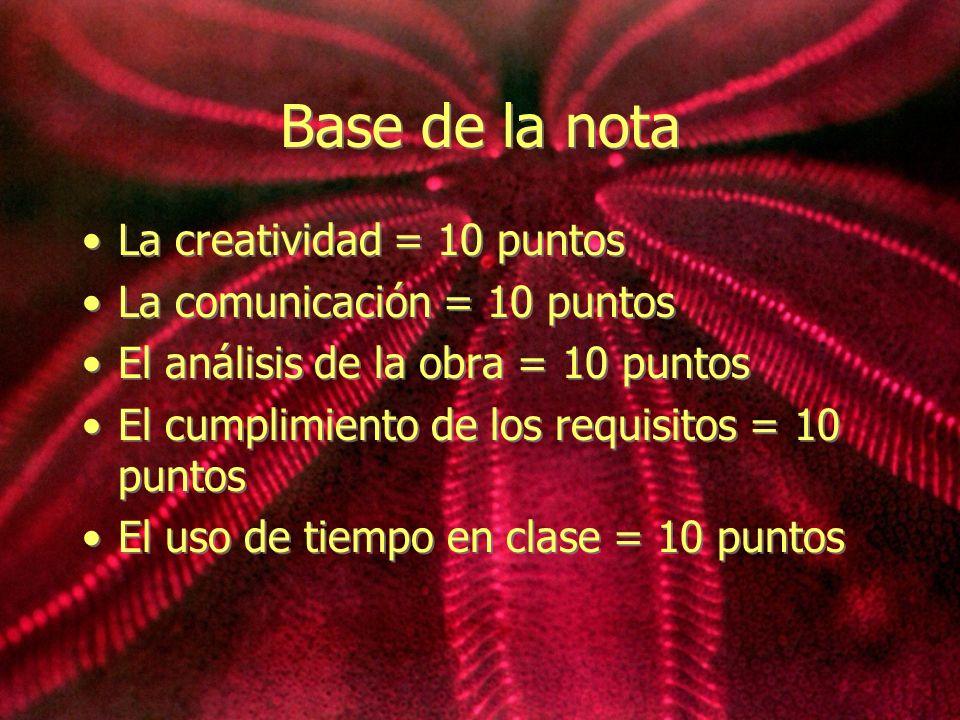 Base de la nota La creatividad = 10 puntos La comunicación = 10 puntos El análisis de la obra = 10 puntos El cumplimiento de los requisitos = 10 punto