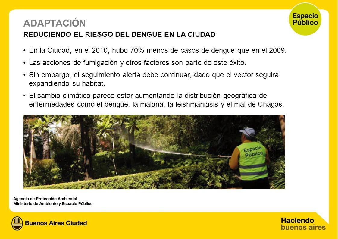 ADAPTACIÓN REDUCIENDO EL RIESGO DEL DENGUE EN LA CIUDAD En la Ciudad, en el 2010, hubo 70% menos de casos de dengue que en el 2009. Las acciones de fu
