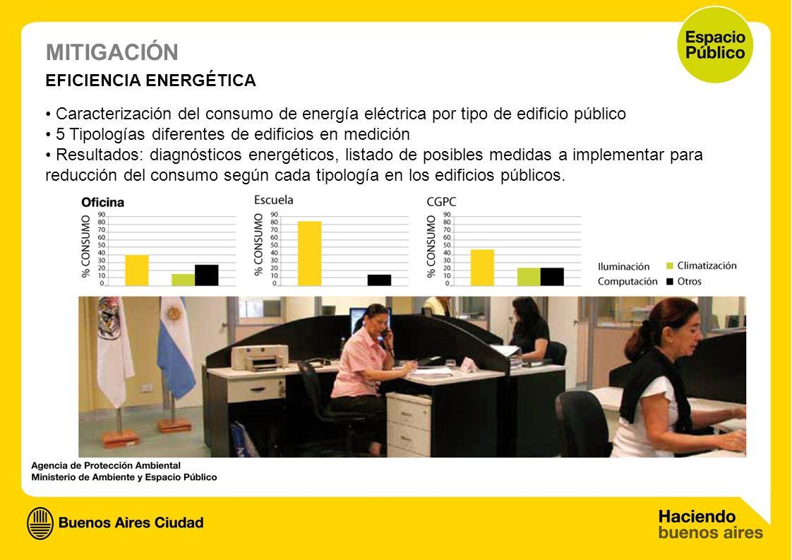 MITIGACIÓN EFICIENCIA ENERGÉTICA Caracterización del consumo de energía eléctrica por tipo de edificio público 5 Tipologías diferentes de edificios en
