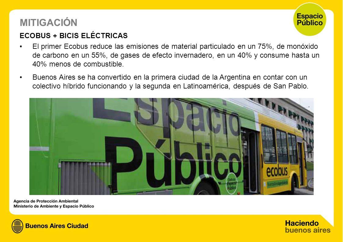 ECOBUS + BICIS ELÉCTRICAS El primer Ecobus reduce las emisiones de material particulado en un 75%, de monóxido de carbono en un 55%, de gases de efect