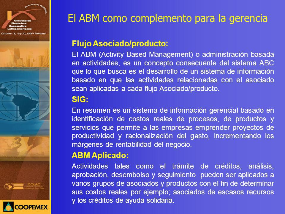 El ABM como complemento para la gerencia Flujo Asociado/producto: El ABM (Activity Based Management) o administración basada en actividades, es un con