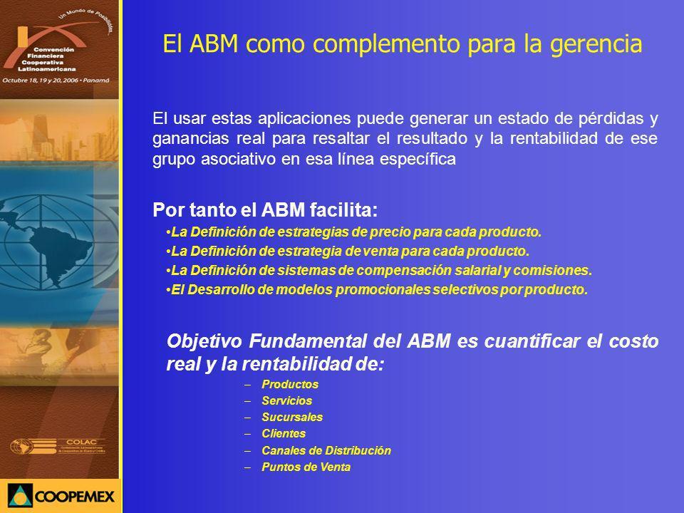 El ABM como complemento para la gerencia El usar estas aplicaciones puede generar un estado de pérdidas y ganancias real para resaltar el resultado y