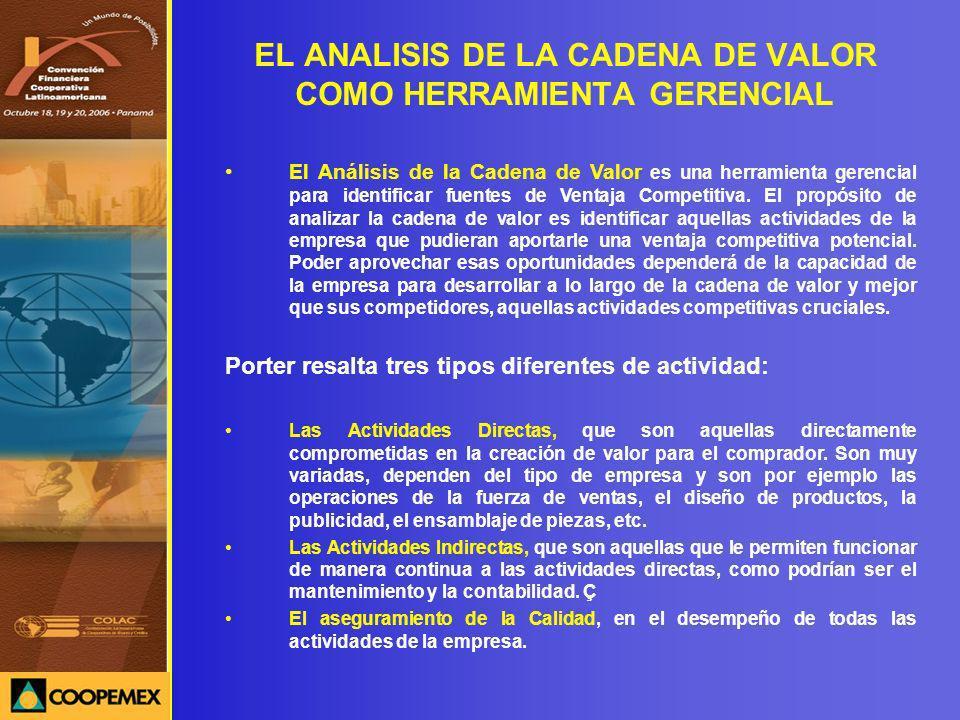 EL ANALISIS DE LA CADENA DE VALOR COMO HERRAMIENTA GERENCIAL El Análisis de la Cadena de Valor es una herramienta gerencial para identificar fuentes d