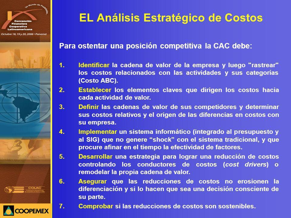 EL Análisis Estratégico de Costos Para ostentar una posición competitiva la CAC debe: 1.Identificar la cadena de valor de la empresa y luego