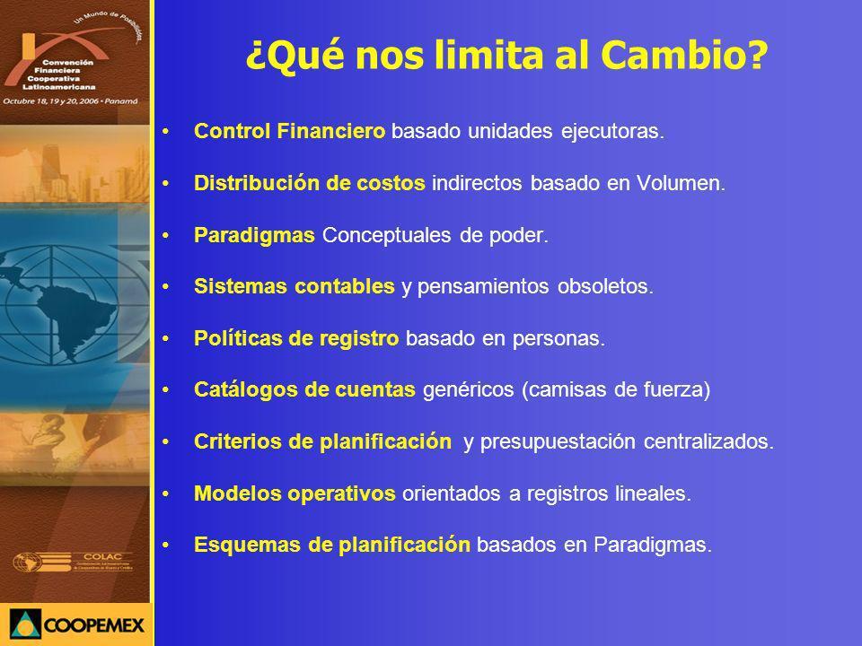 ¿Qué nos limita al Cambio? Control Financiero basado unidades ejecutoras. Distribución de costos indirectos basado en Volumen. Paradigmas Conceptuales