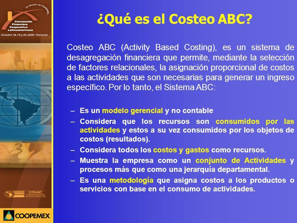 ¿Qué es el Costeo ABC? Costeo ABC (Activity Based Costing), es un sistema de desagregación financiera que permite, mediante la selección de factores r