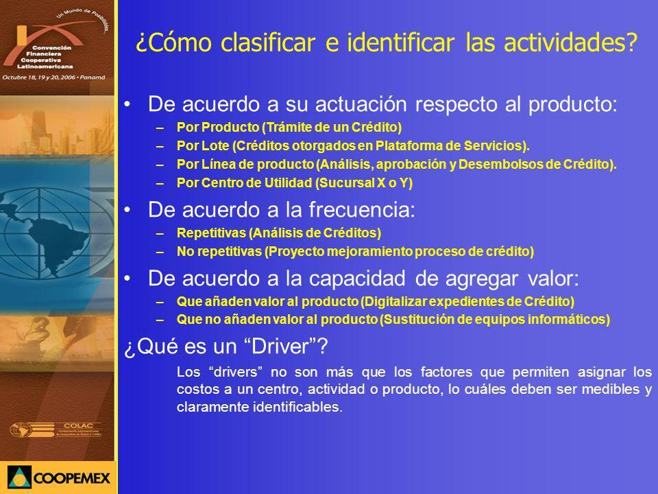 ¿Cómo clasificar e identificar las actividades? De acuerdo a su actuación respecto al producto: –Por Producto (Trámite de un Crédito) –Por Lote (Crédi