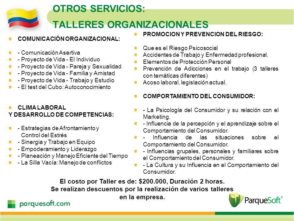 OTROS SERVICIOS: TALLERES ORGANIZACIONALES COMUNICACIÓN ORGANIZACIONAL: - Comunicación Asertiva - Proyecto de Vida - El Individuo - Proyecto de Vida -