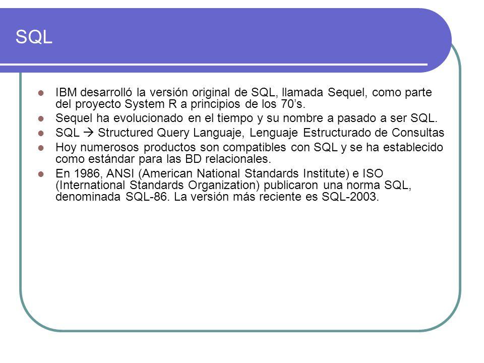 SQL IBM desarrolló la versión original de SQL, llamada Sequel, como parte del proyecto System R a principios de los 70s. Sequel ha evolucionado en el