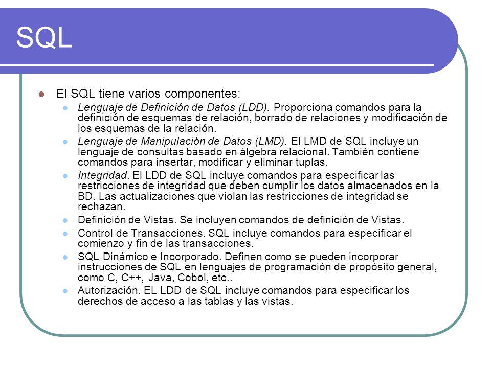 SQL El SQL tiene varios componentes: Lenguaje de Definición de Datos (LDD). Proporciona comandos para la definición de esquemas de relación, borrado d