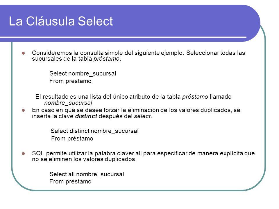 La Cláusula Select Consideremos la consulta simple del siguiente ejemplo: Seleccionar todas las sucursales de la tabla préstamo. Select nombre_sucursa
