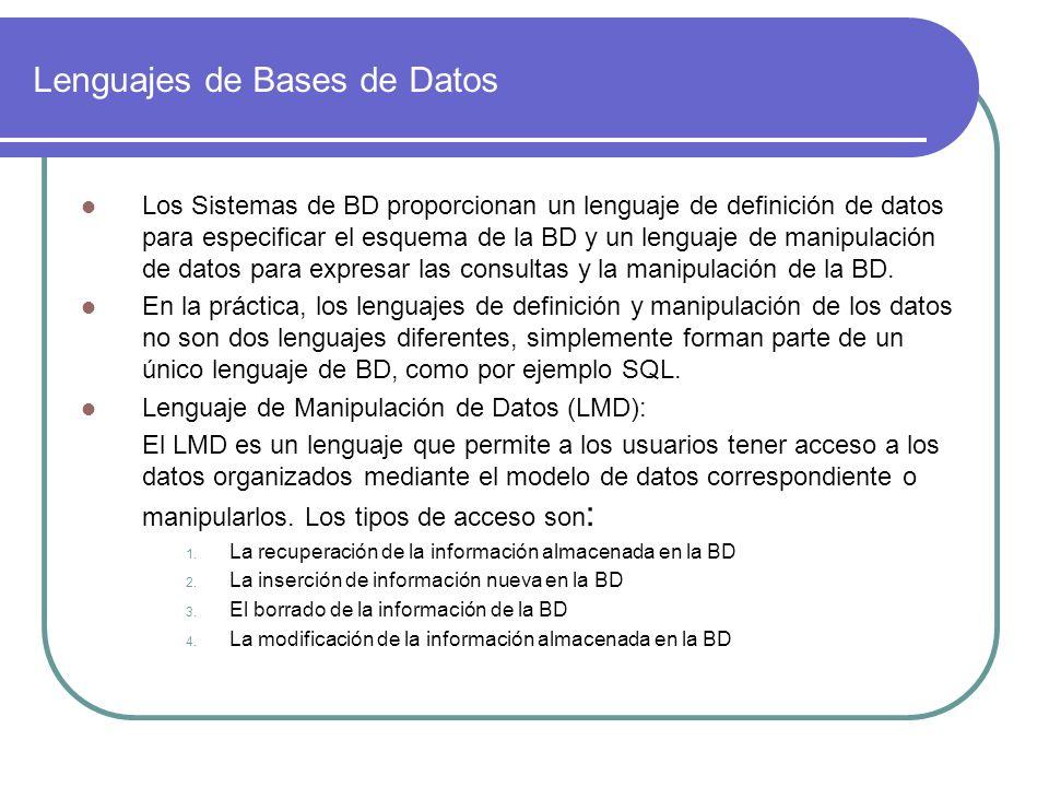 Lenguajes de Bases de Datos Los Sistemas de BD proporcionan un lenguaje de definición de datos para especificar el esquema de la BD y un lenguaje de m