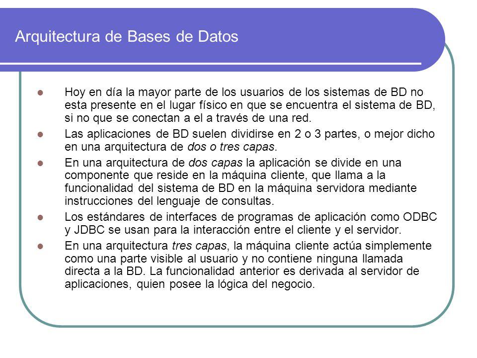 Arquitectura de Bases de Datos Hoy en día la mayor parte de los usuarios de los sistemas de BD no esta presente en el lugar físico en que se encuentra