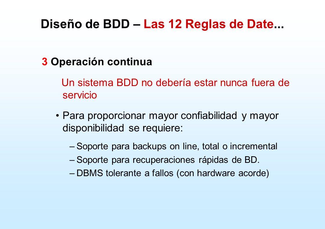 3 Operación continua Un sistema BDD no debería estar nunca fuera de servicio Para proporcionar mayor confiabilidad y mayor disponibilidad se requiere: