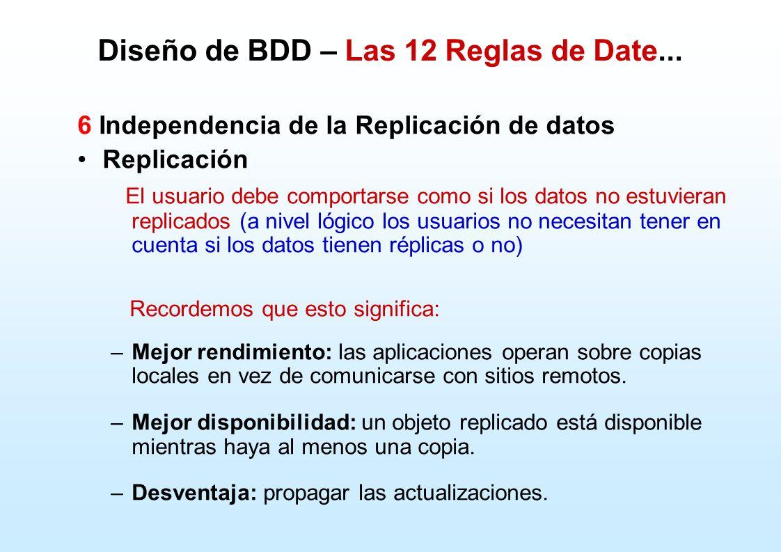 Diseño de BDD – Las 12 Reglas de Date... 6 Independencia de la Replicación de datos Replicación El usuario debe comportarse como si los datos no estuv