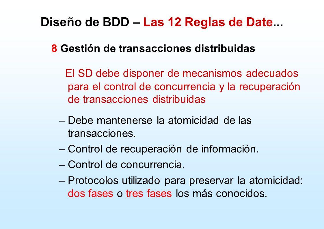 Diseño de BDD – Las 12 Reglas de Date... 8 Gestión de transacciones distribuidas El SD debe disponer de mecanismos adecuados para el control de concur