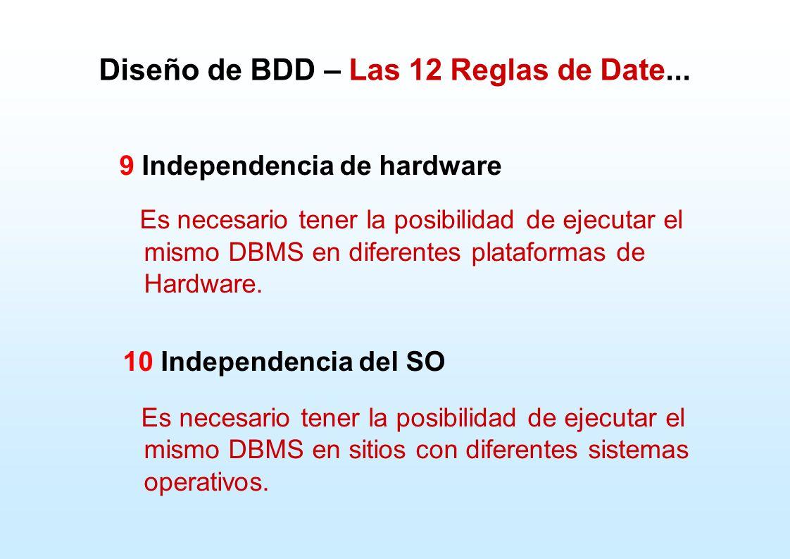 Diseño de BDD – Las 12 Reglas de Date... 9 Independencia de hardware Es necesario tener la posibilidad de ejecutar el mismo DBMS en diferentes platafo