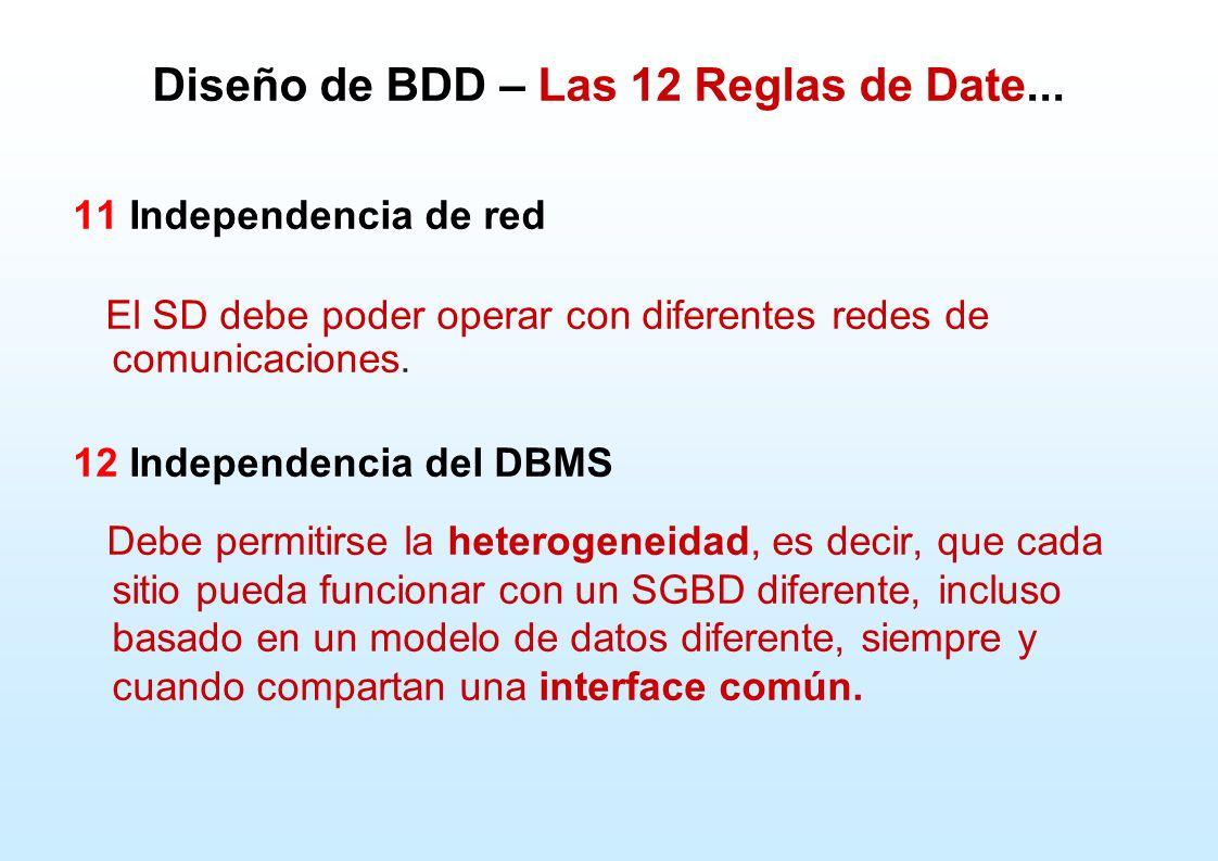 Diseño de BDD – Las 12 Reglas de Date... 11 Independencia de red El SD debe poder operar con diferentes redes de comunicaciones. 12 Independencia del