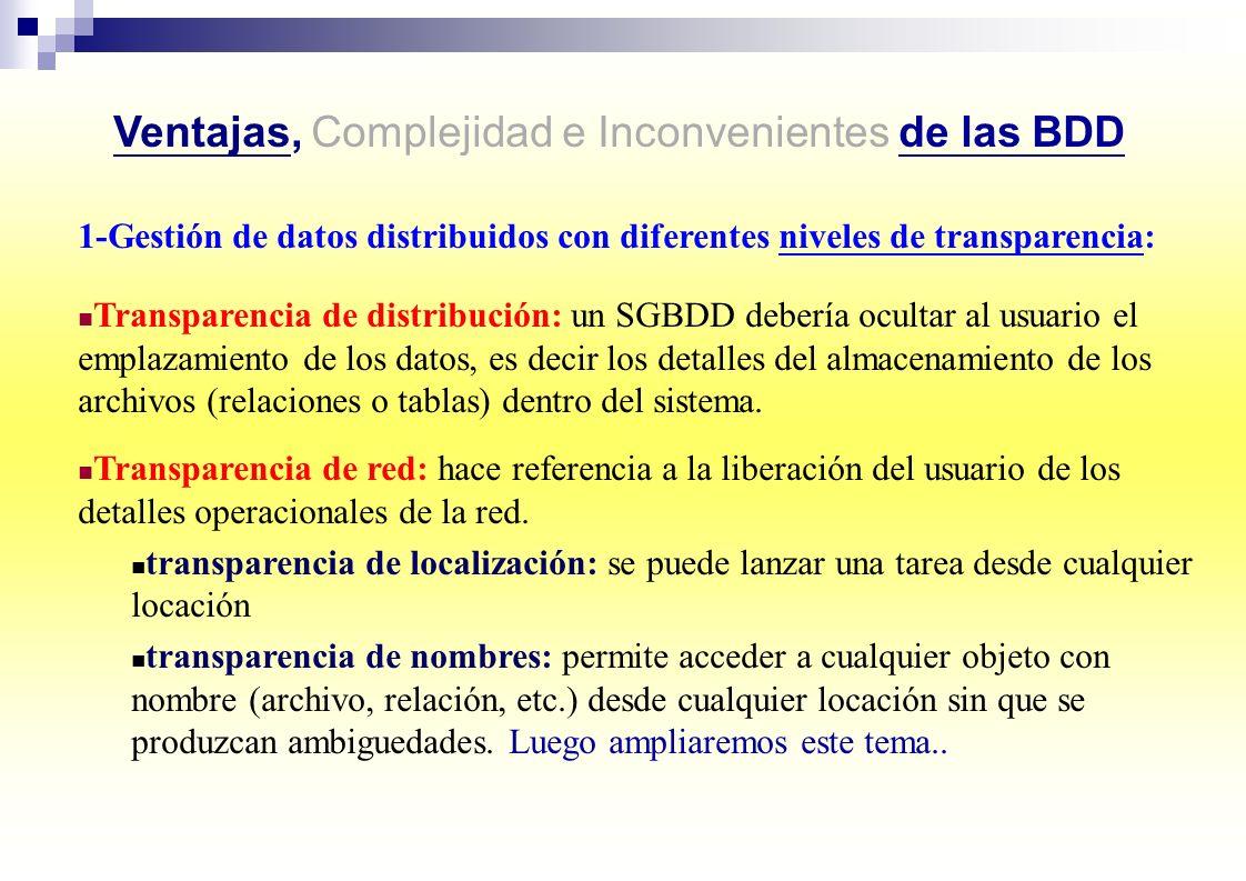 Ventajas, Complejidad e Inconvenientes de las BDD 1-Gestión de datos distribuidos con diferentes niveles de transparencia: Transparencia de distribuci
