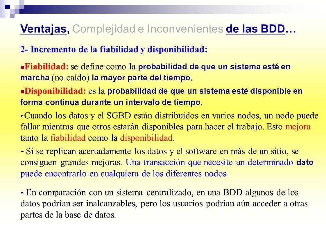 Ventajas, Complejidad e Inconvenientes de las BDD… 2- Incremento de la fiabilidad y disponibilidad: Fiabilidad: se define como la probabilidad de que