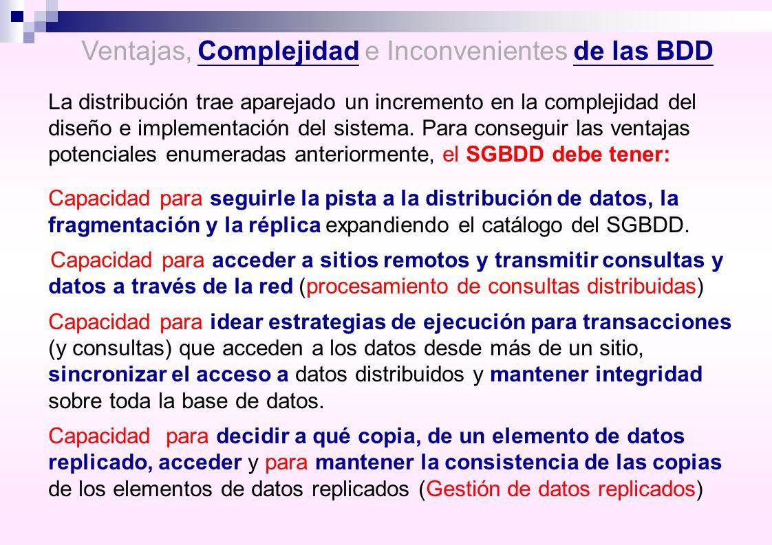Ventajas, Complejidad e Inconvenientes de las BDD La distribución trae aparejado un incremento en la complejidad del diseño e implementación del siste