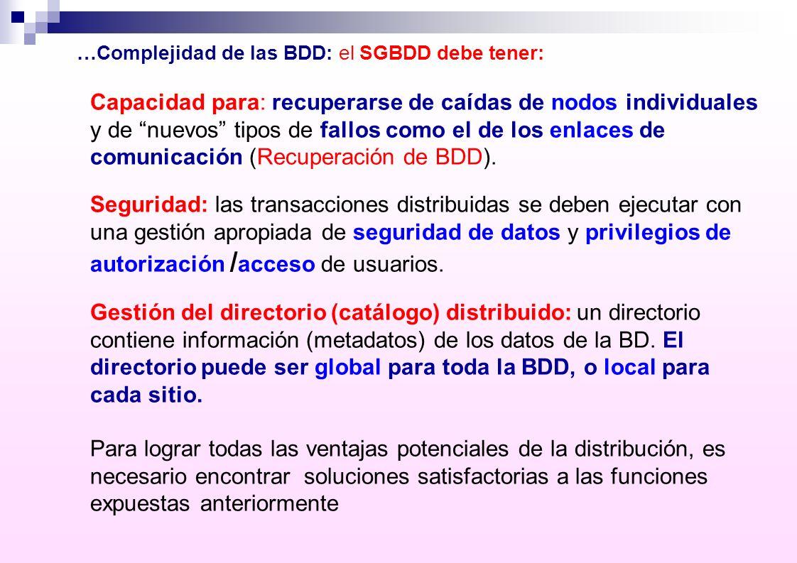 …Complejidad de las BDD: el SGBDD debe tener: Capacidad para: recuperarse de caídas de nodos individuales y de nuevos tipos de fallos como el de los e