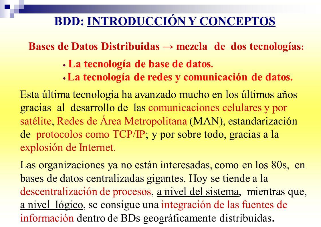 BDD: INTRODUCCIÓN Y CONCEPTOS Bases de Datos Distribuidas mezcla de dos tecnologías : La tecnología de base de datos. La tecnología de redes y comunic