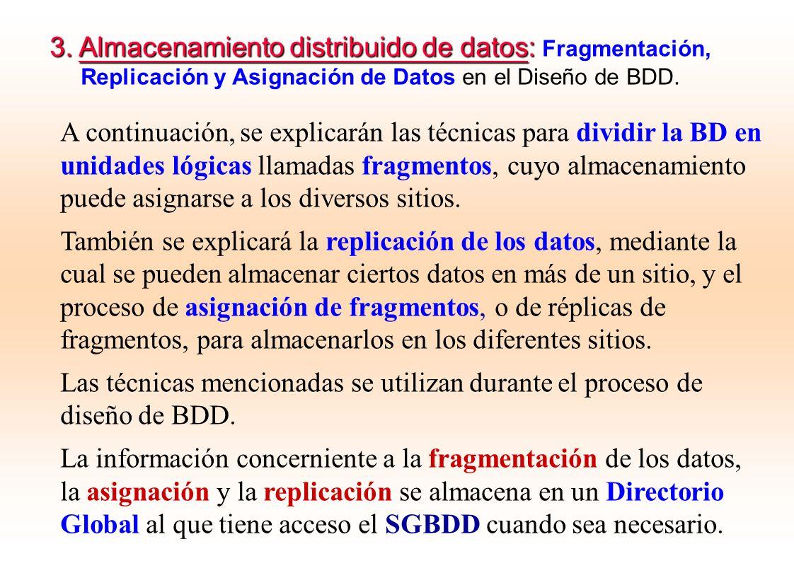 A continuación, se explicarán las técnicas para dividir la BD en unidades lógicas llamadas fragmentos, cuyo almacenamiento puede asignarse a los diver