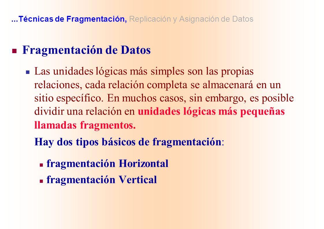 ...Técnicas de Fragmentación, Replicación y Asignación de Datos Fragmentación de Datos Las unidades lógicas más simples son las propias relaciones, ca