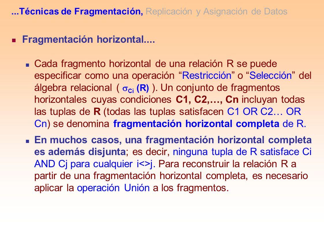 Fragmentación horizontal.... Cada fragmento horizontal de una relación R se puede especificar como una operación Restricción o Selección del álgebra r
