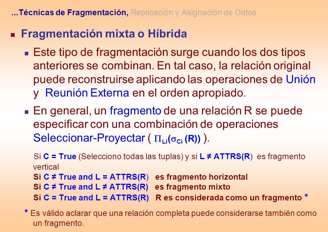 Fragmentación mixta o Híbrida Este tipo de fragmentación surge cuando los dos tipos anteriores se combinan. En tal caso, la relación original puede re
