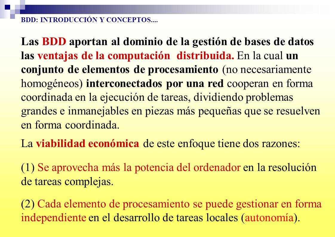 BDD: INTRODUCCIÓN Y CONCEPTOS.... Las BDD aportan al dominio de la gestión de bases de datos las ventajas de la computación distribuida. En la cual un