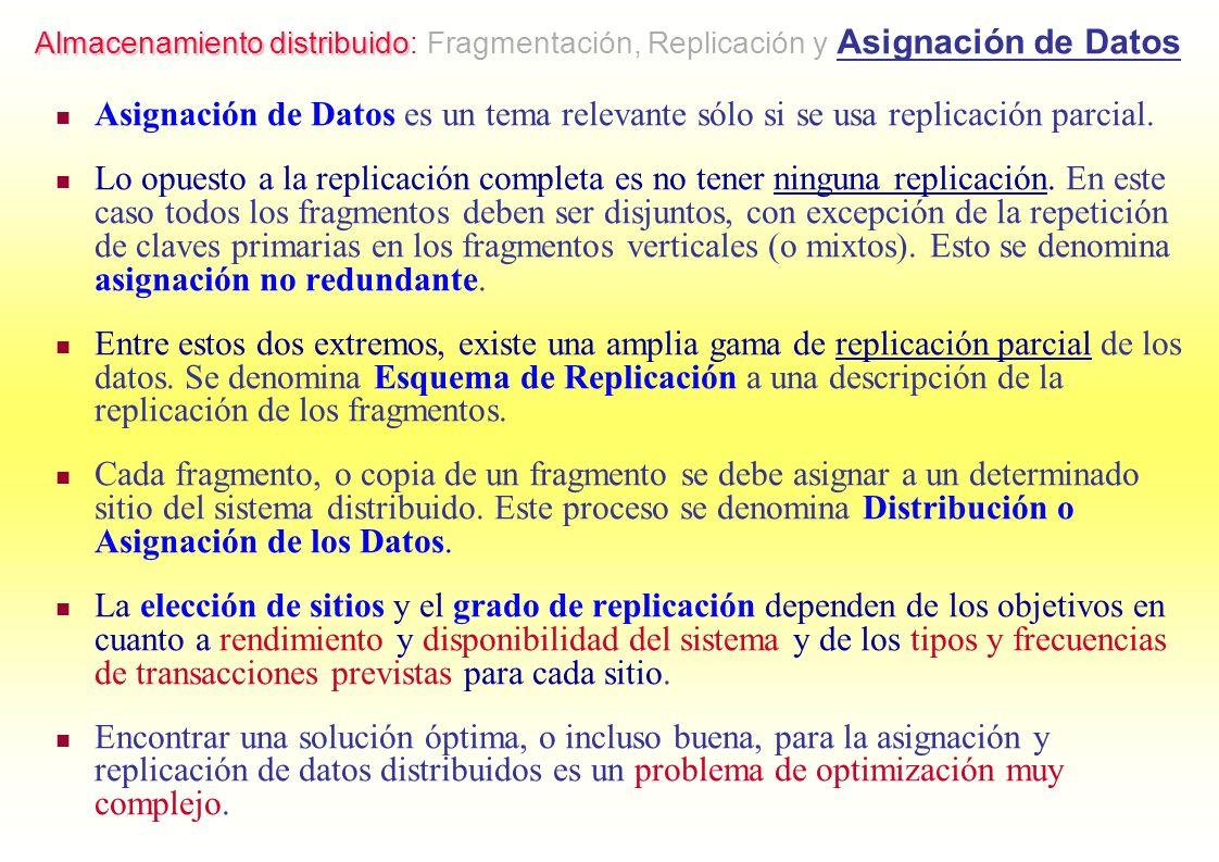 Asignación de Datos es un tema relevante sólo si se usa replicación parcial. Lo opuesto a la replicación completa es no tener ninguna replicación. En