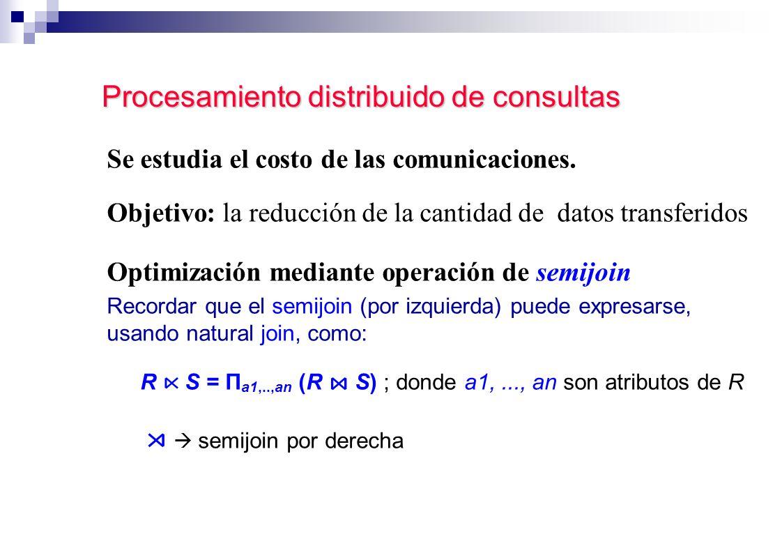 Procesamiento distribuido de consultas Se estudia el costo de las comunicaciones. Objetivo: la reducción de la cantidad de datos transferidos Optimiza