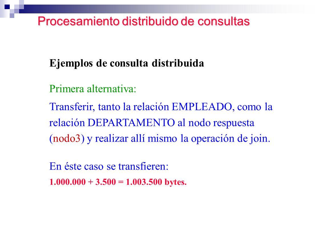 Procesamiento distribuido de consultas Procesamiento distribuido de consultas Ejemplos de consulta distribuida Primera alternativa: Transferir, tanto