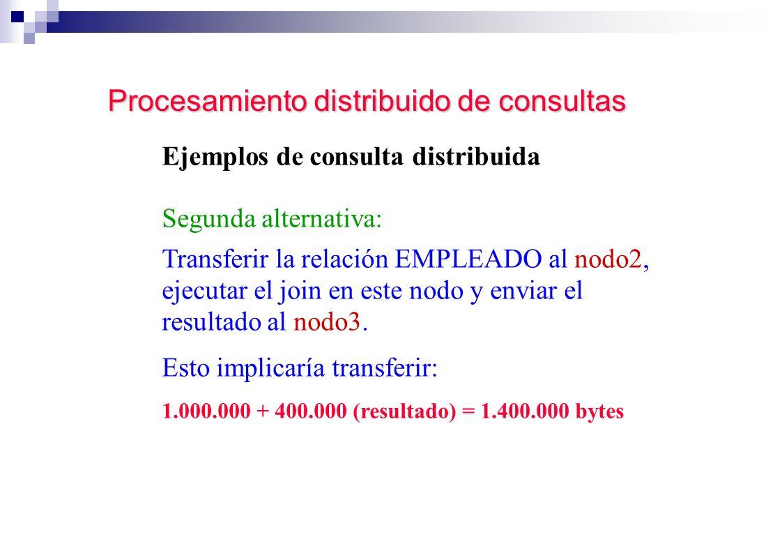 Procesamiento distribuido de consultas Ejemplos de consulta distribuida Segunda alternativa: Transferir la relación EMPLEADO al nodo2, ejecutar el joi
