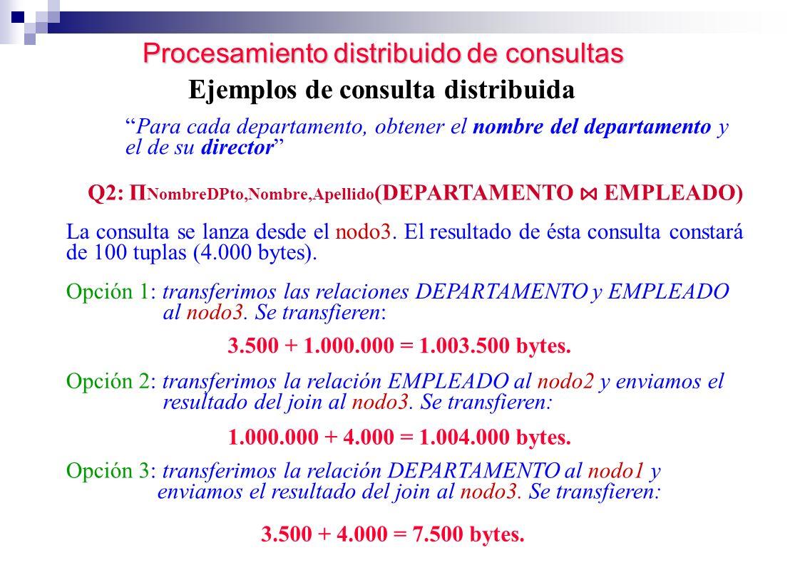 Procesamiento distribuido de consultas Ejemplos de consulta distribuida Para cada departamento, obtener el nombre del departamento y el de su director
